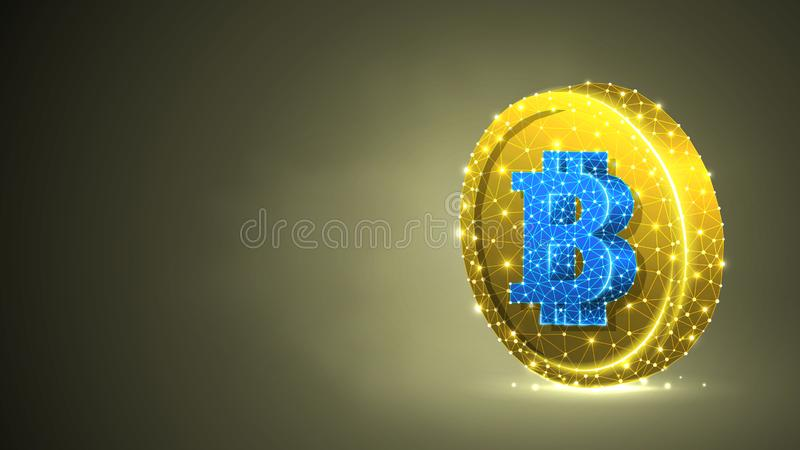Bitcoin cryptocurrency på ett guld- mynt Polygonal affär, pengar, valuta, kassa, cirkelbegrepp Abstrakt digitalt royaltyfri illustrationer
