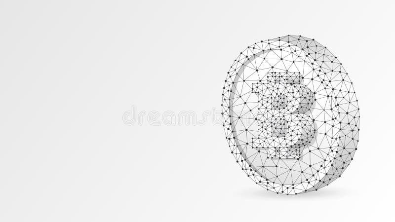 Bitcoin cryptocurrency på ett mynt Polygonal affär, pengar, valuta, kassa, cirkelbegrepp Abstrakt digitalt royaltyfri illustrationer