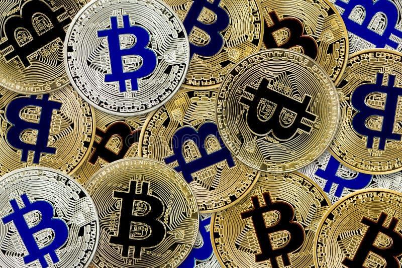 Bitcoin Cryptocurrency pojęcie wirtualnego waluty tła wirtualne monety obraz royalty free