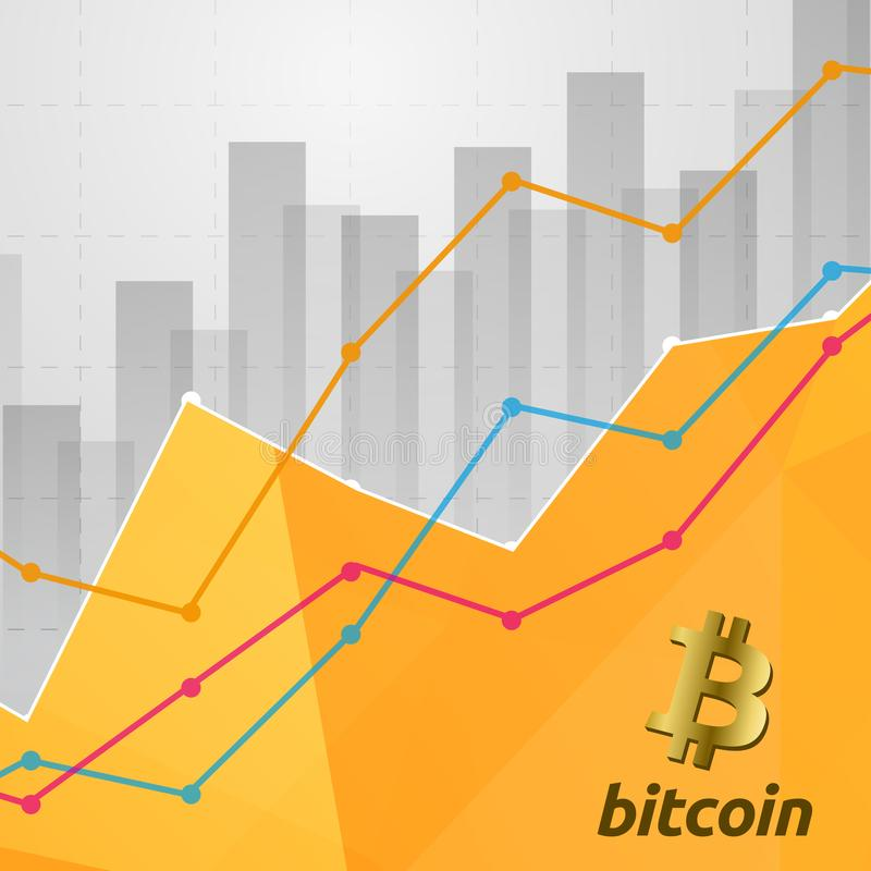 Bitcoin cryptocurrency statistics chart showing various visualization graphs stock illustration