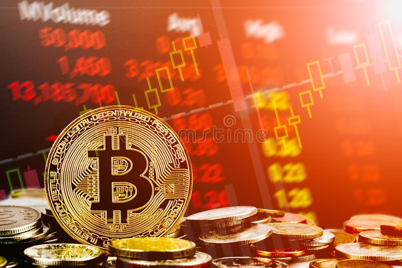 Bitcoin cryptocurrency stock trading background concept. Golden bitcoin over many international money coins with abstract trading royalty free stock photos