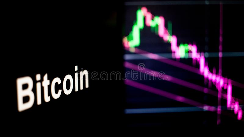 Bitcoin Cryptocurrency token. The behavior of the cryptocurrency exchanges, concept. Modern financial technologies. royalty free stock photography