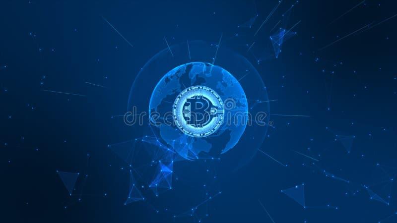 Bitcoin Cryptocurrency w Cyfrowej cyberprzestrzeni Technologii sieci pieni?dze wymiana Ziemski element mebluj?cy Nasa royalty ilustracja
