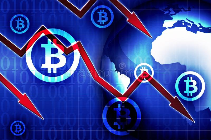 Bitcoin currency crisis background illustration. Bitcoin currency crisis news background illustration royalty free illustration