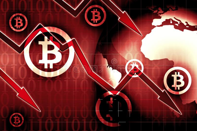 Bitcoin currency crisis red background illustration. Bitcoin currency crisis red news background illustration royalty free illustration