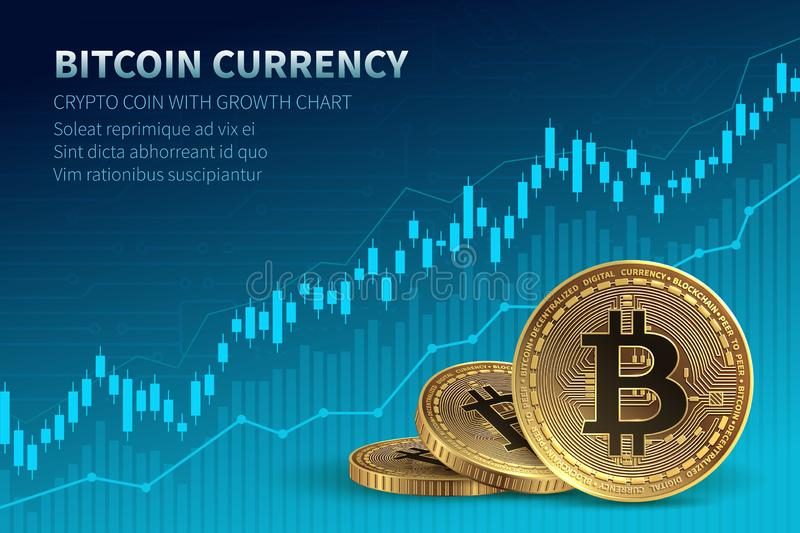 Bitcoin currency. Crypto coin with growth chart. International stock exchange. Network bitcoin marketing vector banner vector illustration