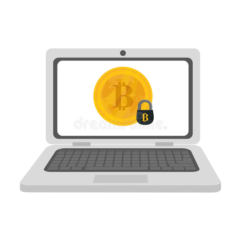 Bitcoin currency design. Laptop computer and bitcoin currency over white background. colorful design. illustration vector illustration