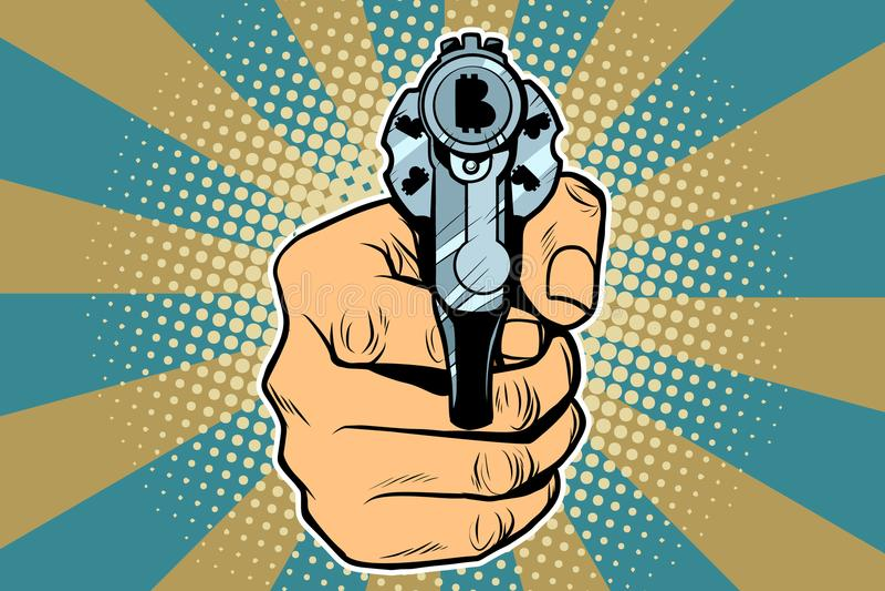 Bitcoin currency money Finance revolver in hand. Pop art retro vector illustration stock illustration