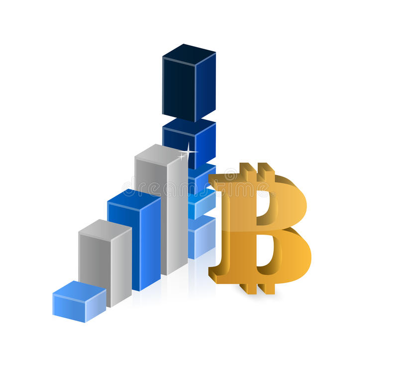 Bitcoin currency symbol and business graph vector illustration