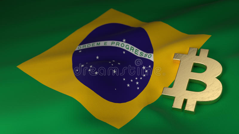 Bitcoin Currency Symbol On Flag Of Brazil Stock Illustration