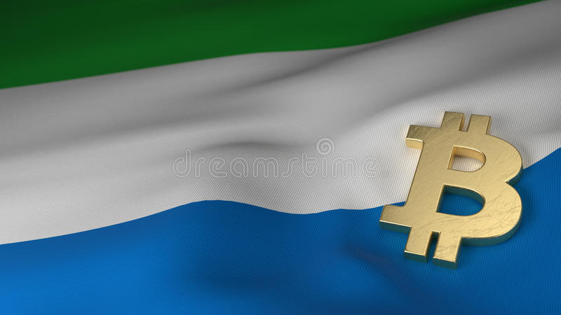 Bitcoin Currency Symbol On Flag Of Sierra Leone Stock Illustration