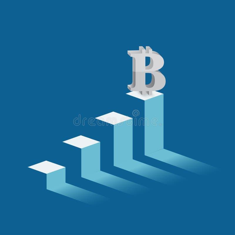 bitcoin currency symbol on mountain peak. stock illustration