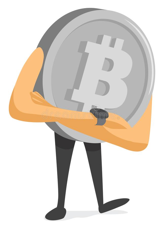 Bitcoin currency waiting and looking his watch stock illustration