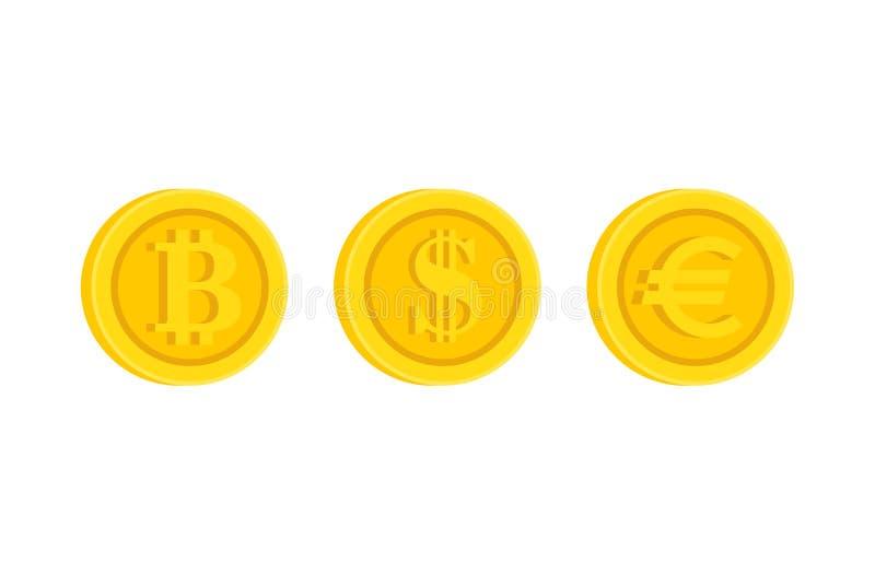 Bitcoin, dólar, grupo do ícone do sinal do ícone do Euro ilustração do vetor