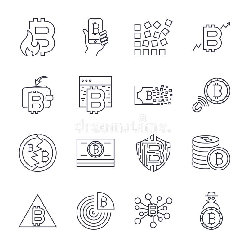 Bitcoin, d?nner einfarbiger Ikonensatz Cryptocurrency-Ikonen, Schwarzweiss-Ausr?stung Editable Anschlag vektor abbildung