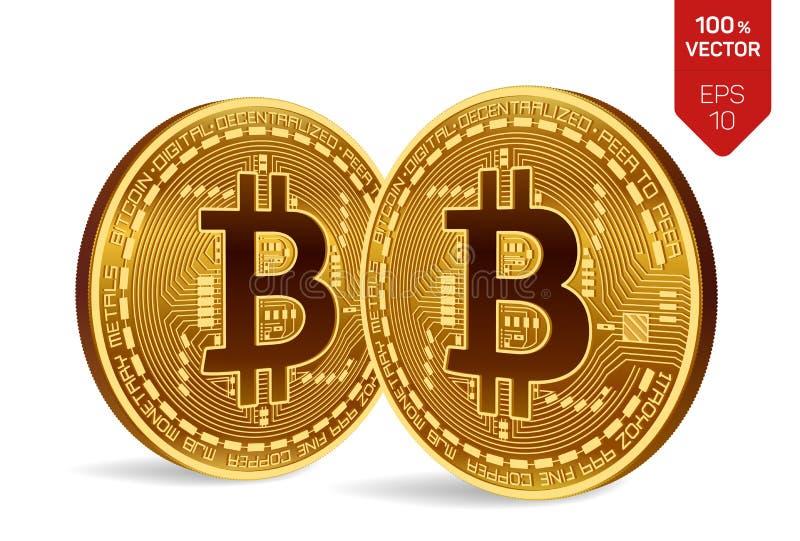 Bitcoin 3D等量物理位硬币 Cryptocurrency 在白色背景与bitcoin标志的两枚金黄硬币隔绝的 皇族释放例证