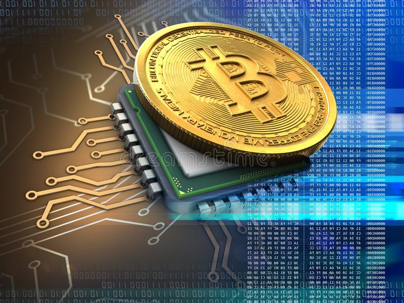 bitcoin 3d avec le bleu d'unité centrale de traitement photographie stock