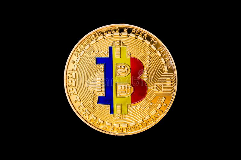 Bitcoin d'or avec le drapeau roumain au centre/au cryp de la Roumanie photo libre de droits