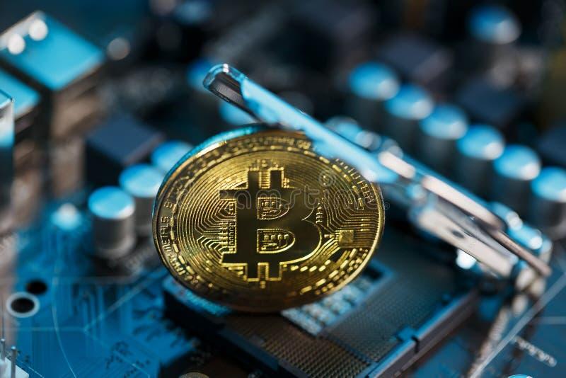 Bitcoin d'or Cryptocurrency sur l'unité centrale de traitement de carte d'ordinateur Macro tir image stock
