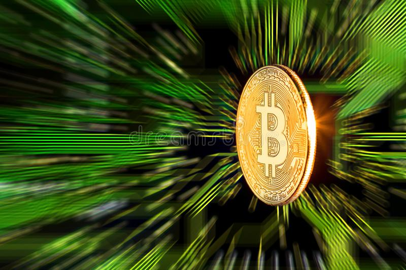 Bitcoin d'or Cryptocurrency sur la carte images stock