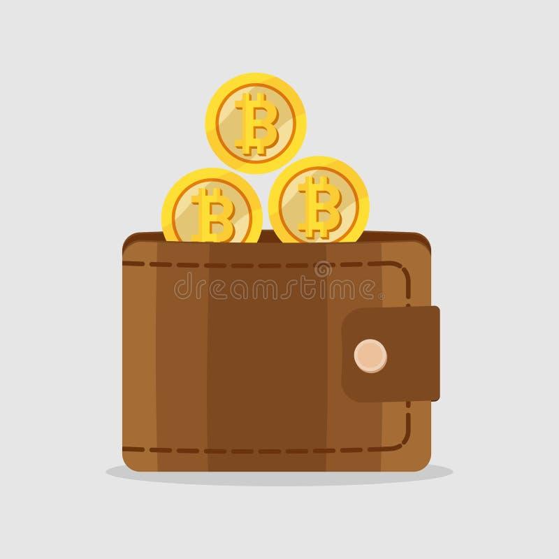 Bitcoin d'or dans un portefeuille, concept de commerce d'Internet, noveltie illustration de vecteur