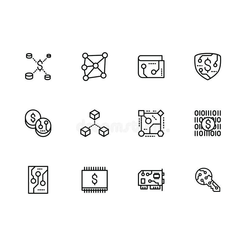 Bitcoin d'icône de vecteur, chaîne de bloc, exploitation, cryptocurrency, échange, paiement et plus réglés Icônes d'ensemble de v illustration libre de droits