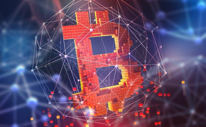 Bitcoin 3D illustration Futuristiskt begrepp av att bryta cryptocurrency Pengar i cyberspace royaltyfri illustrationer