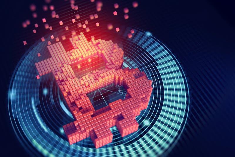 Bitcoin 3D ilustracja Futurystyczny pojęcie górniczy cryptocurrency ilustracja wektor