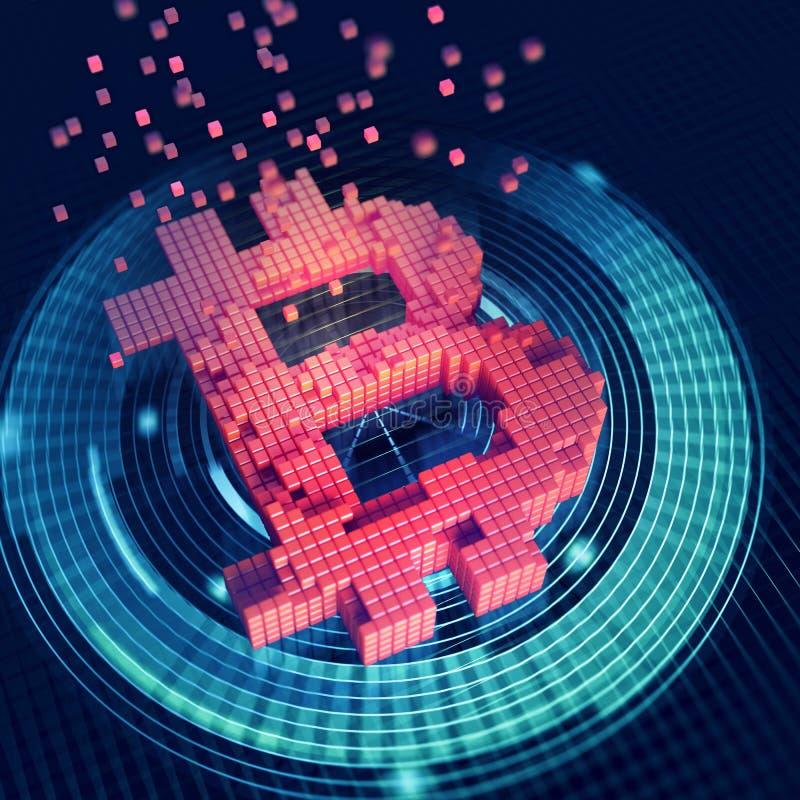Bitcoin 3D ilustracja Futurystyczny poj?cie g?rniczy cryptocurrency royalty ilustracja