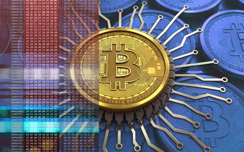bitcoin 3d integrierter Chip lizenzfreie abbildung