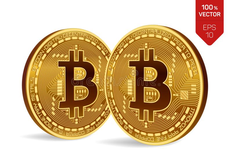 Bitcoin. 3D isometric Physical bit coin. Cryptocurrency. Two Golden coins with bitcoin symbol isolated on white background. Bitcoin. 3D isometric Physical bit royalty free illustration