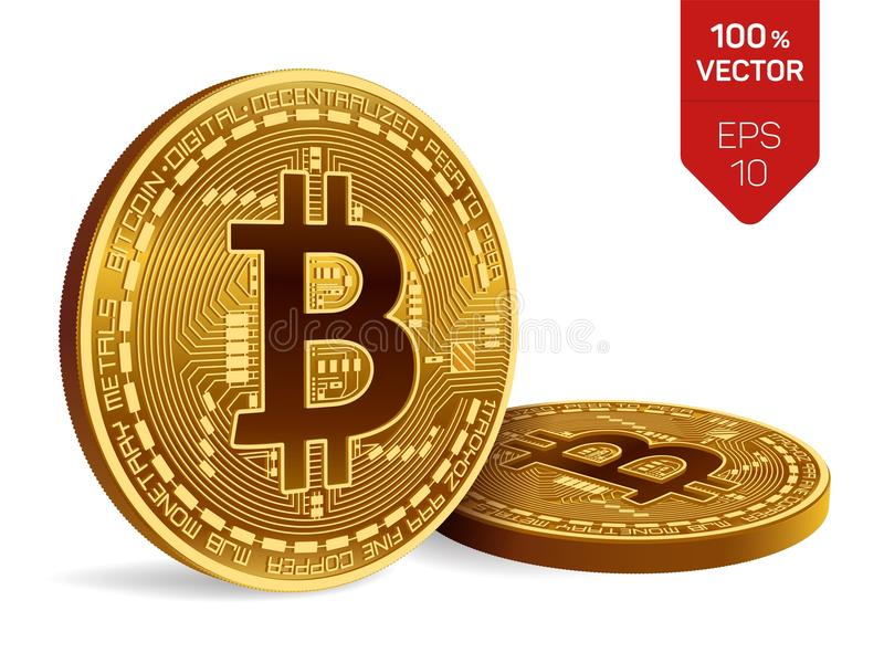 Bitcoin. 3D isometric Physical bit coin. Digital currency. Cryptocurrency. Two Golden coins with bitcoin symbol isolated on white. Background. Stock stock illustration