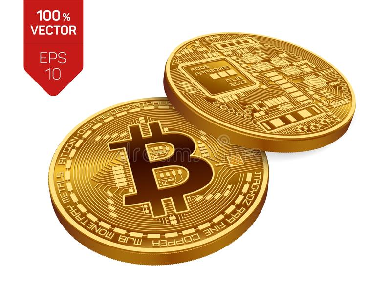 Bitcoin. 3D isometric Physical bit coin. Digital currency. Cryptocurrency. Two Golden coins with bitcoin symbol. Bitcoin. 3D isometric Physical bit coin royalty free illustration