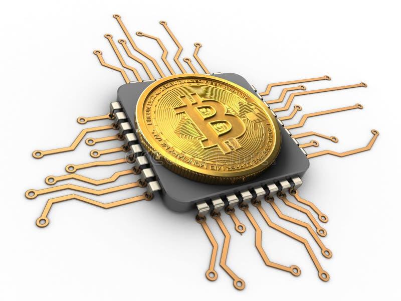 bitcoin 3d mit CPU lizenzfreies stockfoto