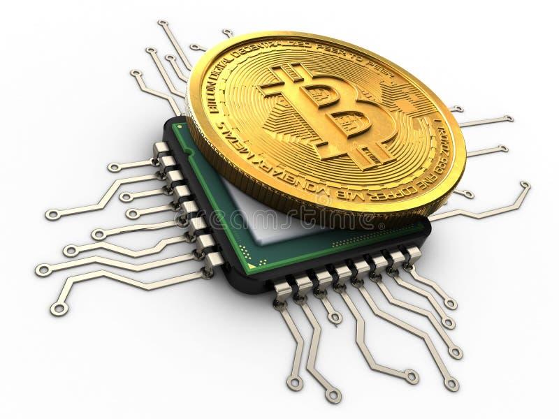 bitcoin 3d mit CPU lizenzfreie abbildung