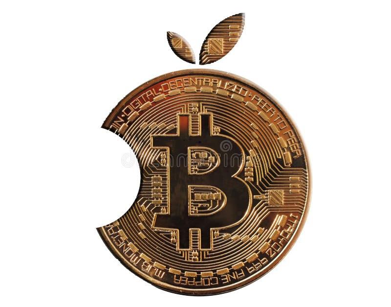 Bitcoin d'or sous forme d'orange de morsure Fond blanc d'isolement Crypto devise de Mayerized photographie stock libre de droits