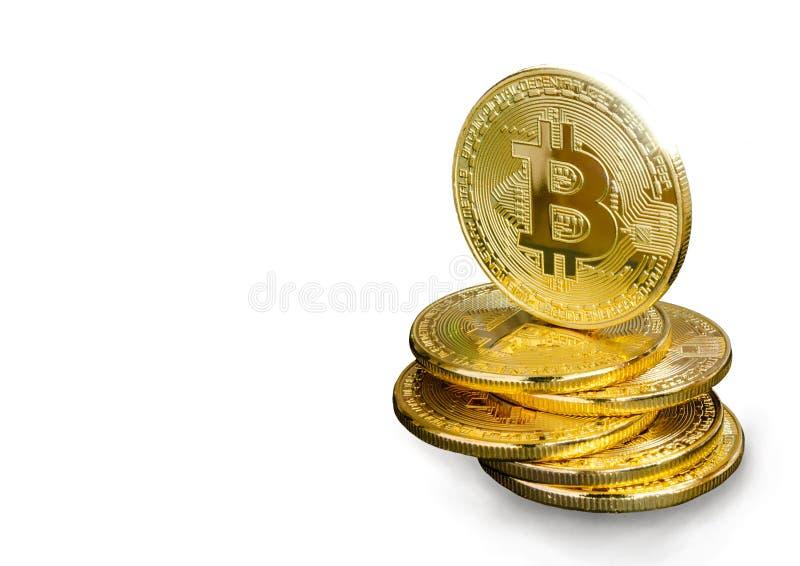 Bitcoin d'or sur un fond blanc images libres de droits