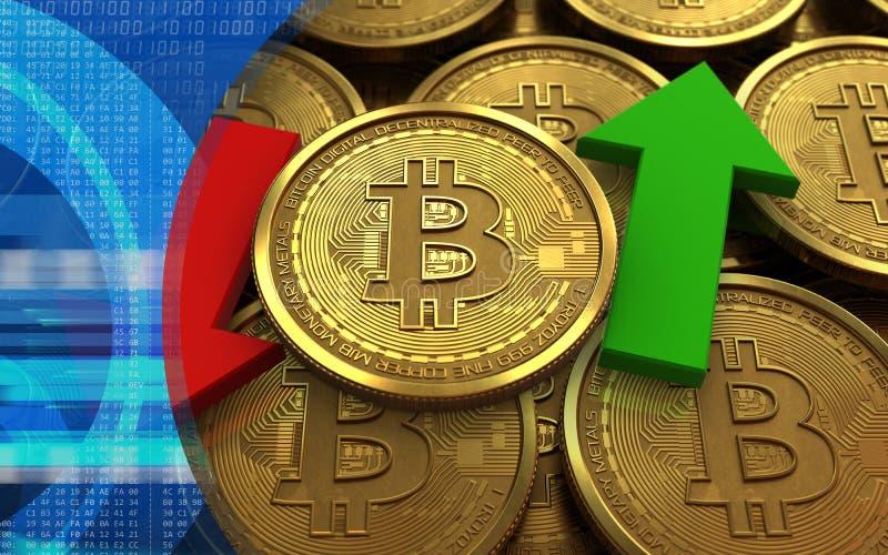 bitcoin 3d uppåt- och neråt pilar royaltyfri illustrationer
