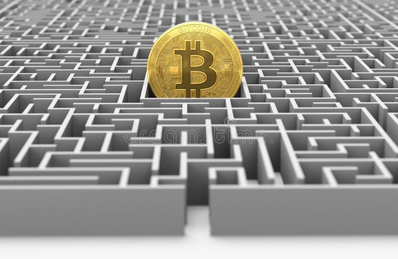 Bitcoin dans le labyrinthe Plan d'étude rendu 3d illustration de vecteur