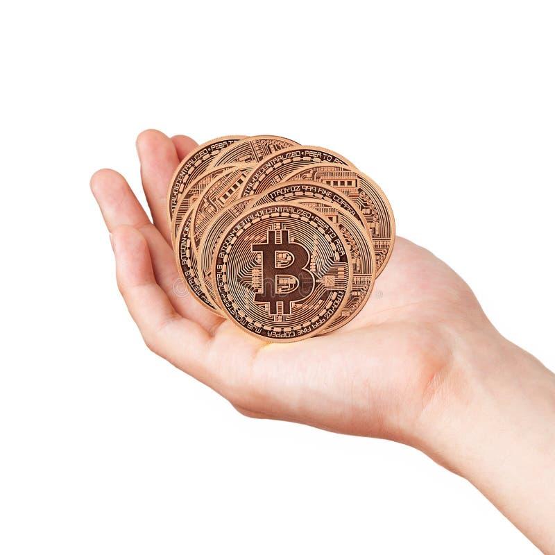 Bitcoin dans les mains photo libre de droits