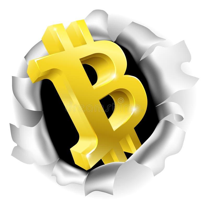 Bitcoin, das durch Hintergrund-Konzept bricht lizenzfreie abbildung