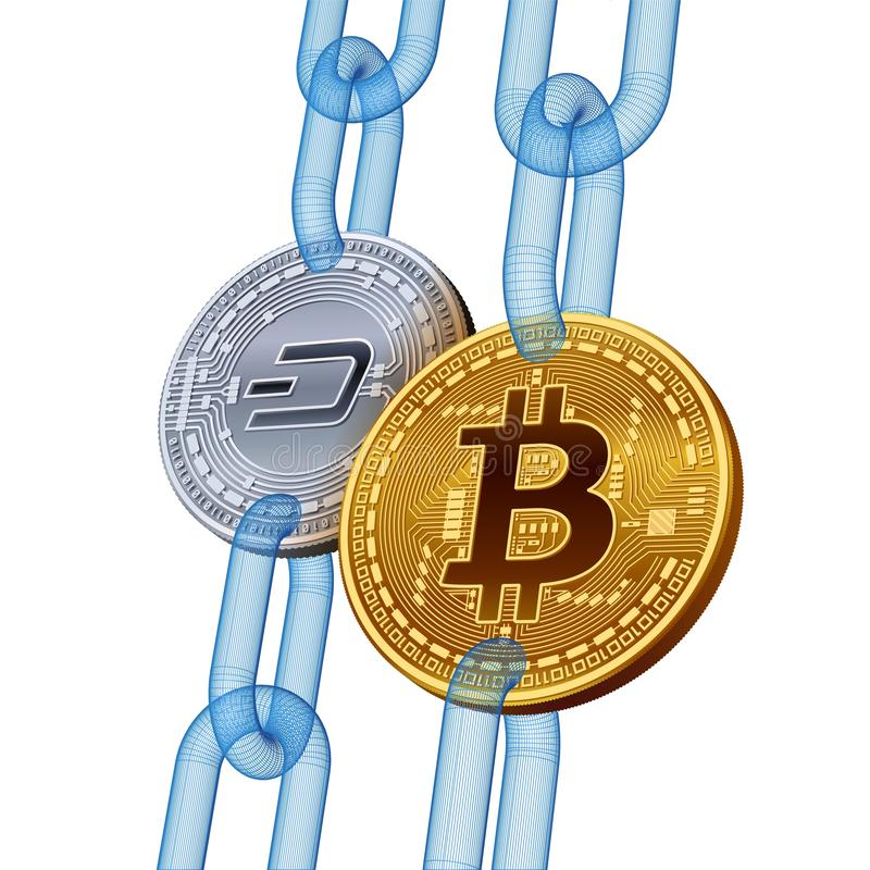 Bitcoin. Dash. Cryptocurrency. Blockchain. Golden Bitcoin and silver Dash coins with wireframe chain. 3D isometric Physical coins. Block chain concept vector illustration
