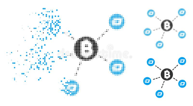 Dissolved Dotted Halftone Bitcoin Dash Network Icon. Bitcoin Dash network icon in disappearing, dotted halftone and undamaged entire versions. Pixels are vector illustration