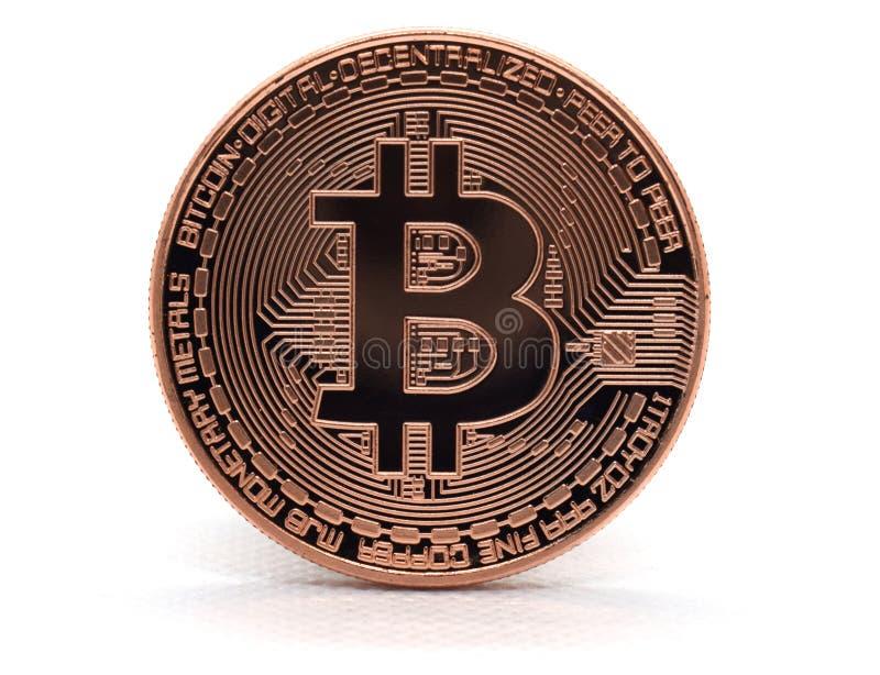 Bitcoin de bronce BTC aislado en un fondo blanco fotos de archivo libres de regalías