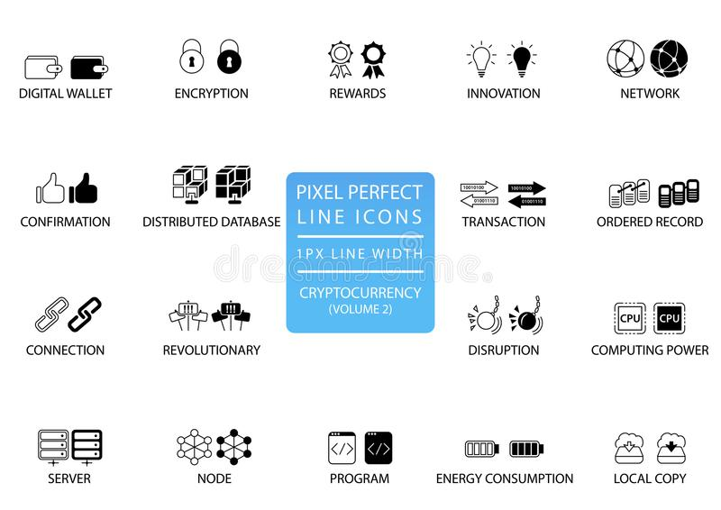 Bitcoin de Cryptocurrency, ligne mince ensemble d'ethereum d'icône Icônes parfaites de pixel avec 1 ligne largeur de px pour APP  illustration stock
