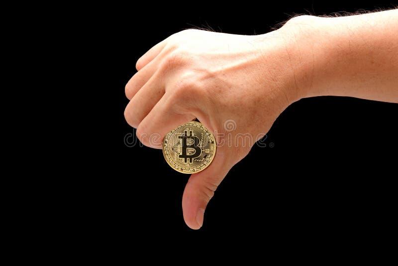 Bitcoin de la aversión imagen de archivo libre de regalías