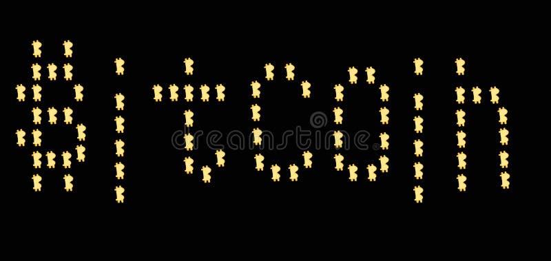Bitcoin de la muestra de Bitcoin de la palabra, bitcoin en fondo negro imagenes de archivo