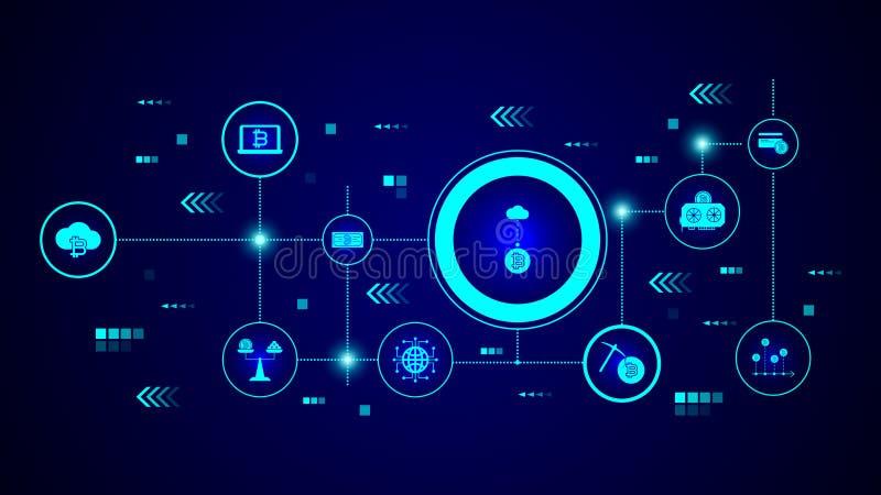 bitcoin de la transferencia directa del icono de la nube De sistema crypto ilustración del vector