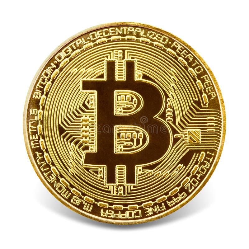 Bitcoin de oro aislado en el fondo blanco imagen de archivo