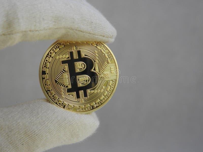 Bitcoin de oro dirigido con los guantes foto de archivo libre de regalías